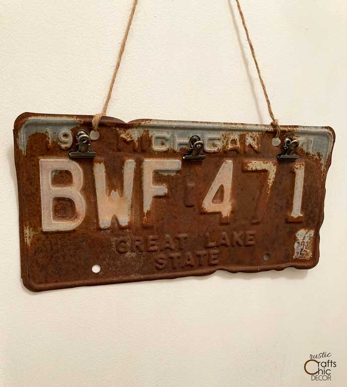 old license plate clipboard
