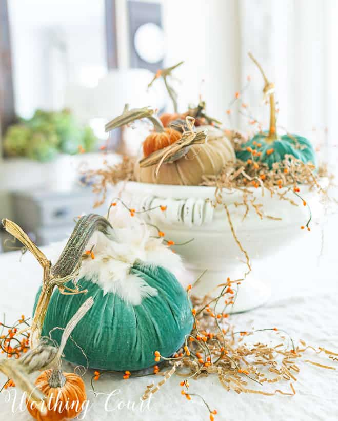 pumpkin, pipberry, and paper shed Thanksgiving Centerpiece
