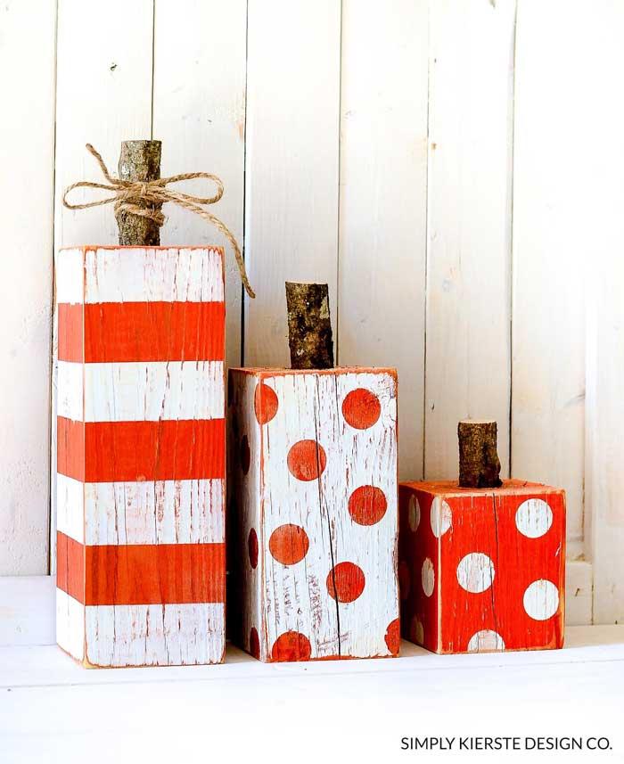 striped and polka dot wood post pumpkins