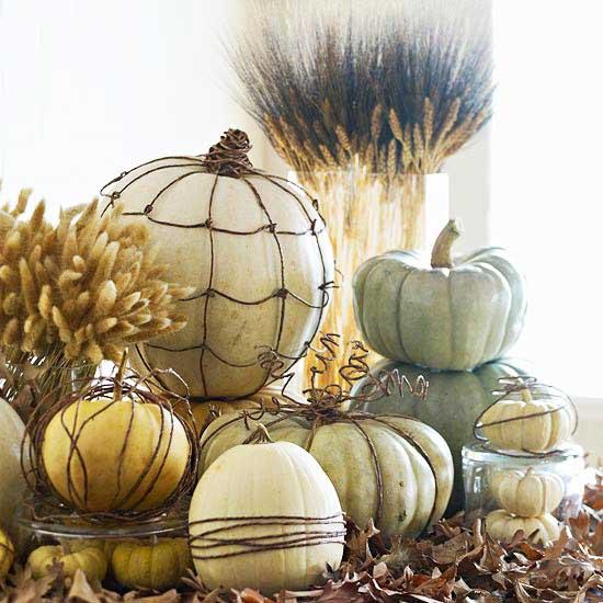 wired pumpkin centerpiece