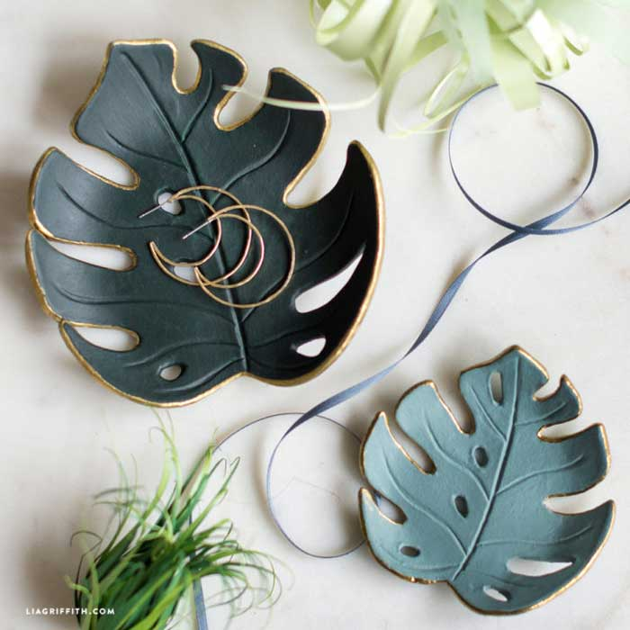 air dry clay leaf dish