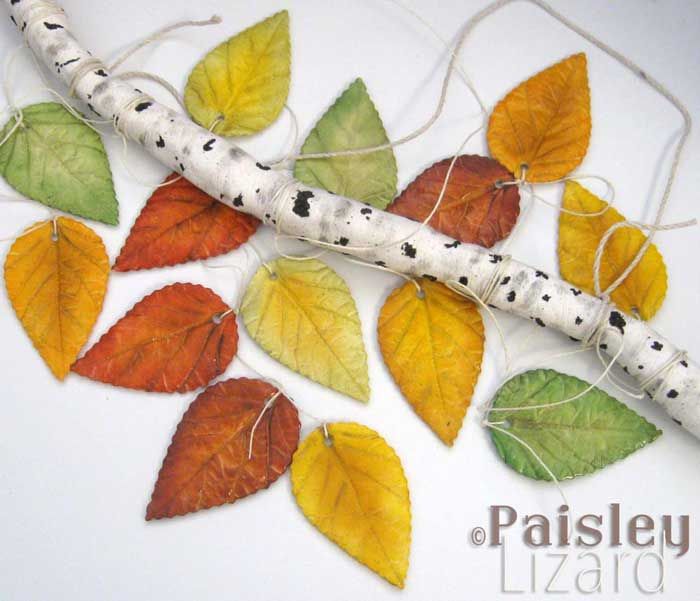clay birch branch and fall leaves