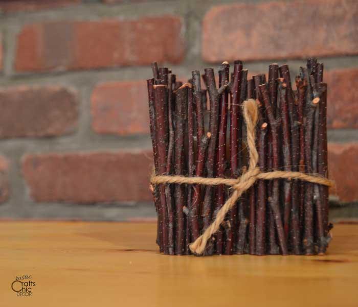 twig candle holder diy