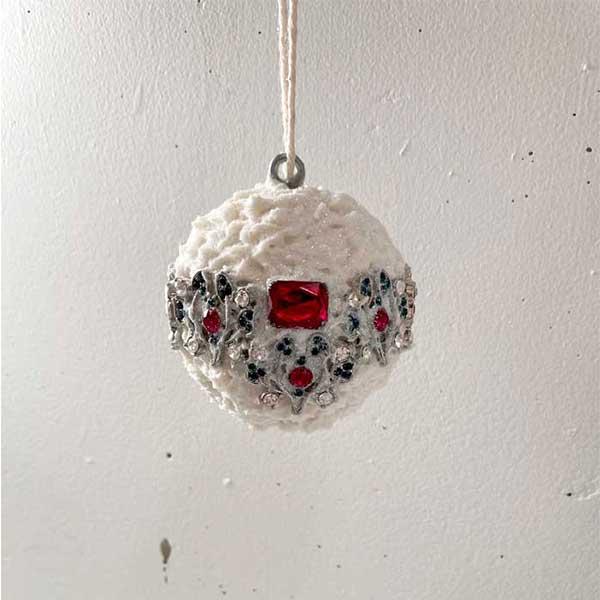 jeweled snowball christmas ornament