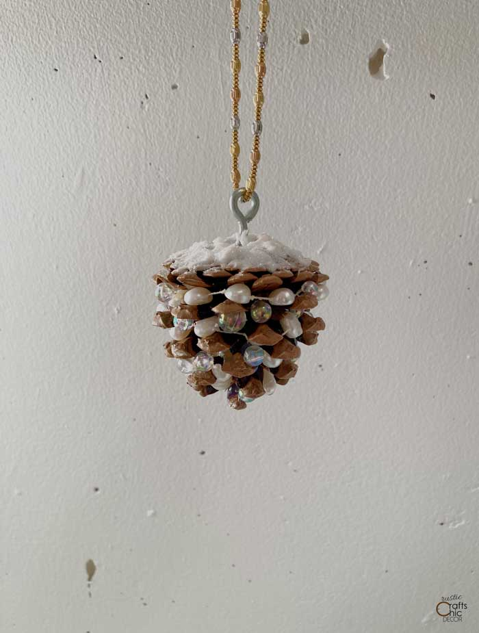 pinecone christmas ornament made with jewelry