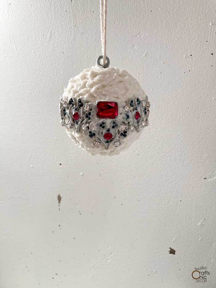 christmas snowball ornament with jewelry