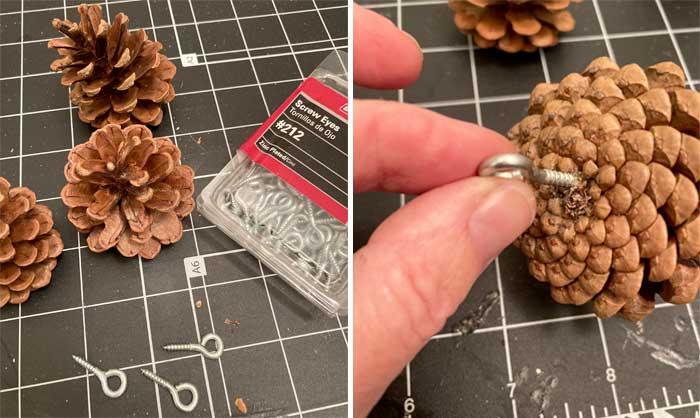 pinecone ornament diy step one