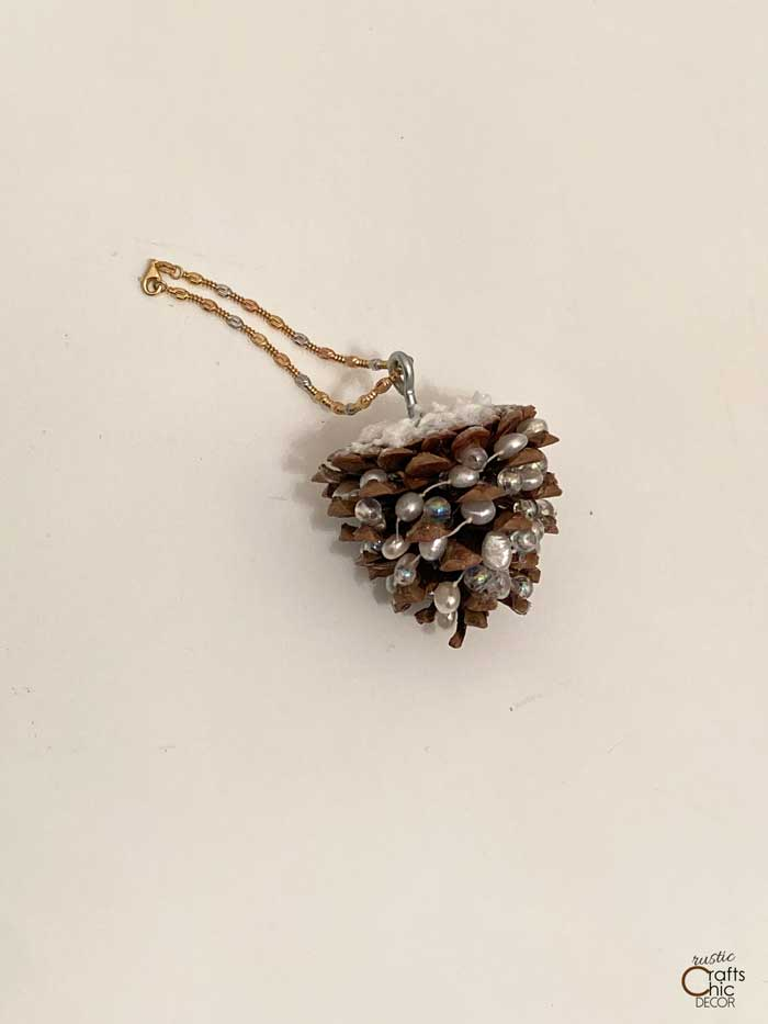 pinecone ornament with necklace