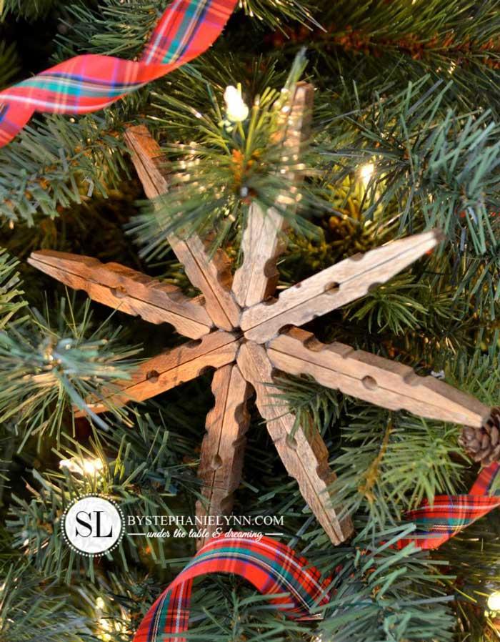 diy clothespin snowflake ornament
