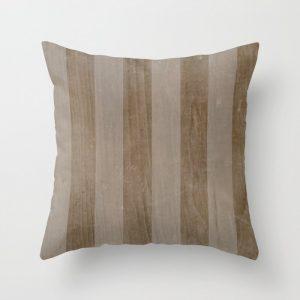 rustic neutral wood stripes throw pillow