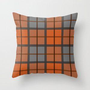 orange and gray plaid throw pillow