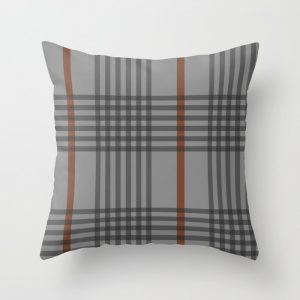 orange and gray weave throw pillow