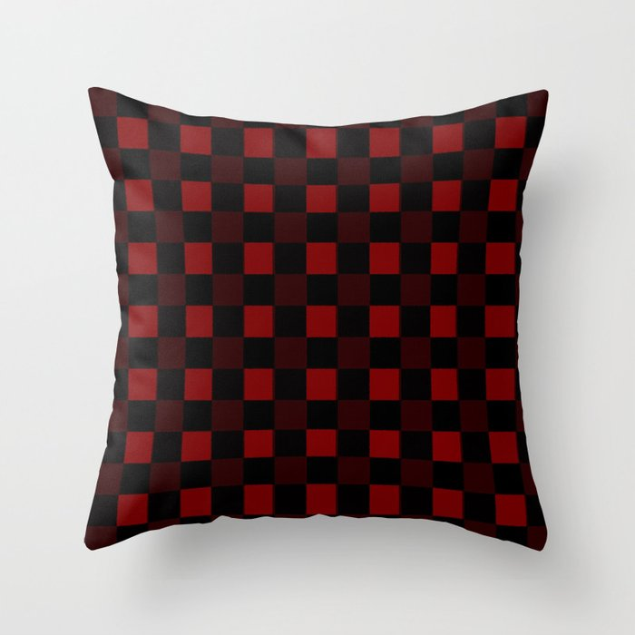 red and black plaid winter throw pillow