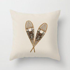 winter snowshoe pillow