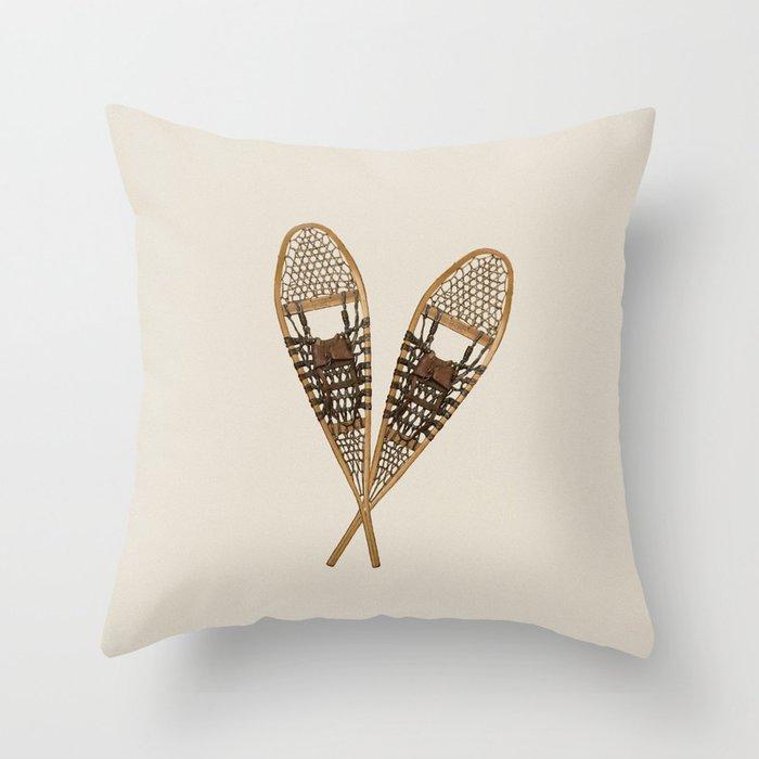 snow shoe winter throw pillow