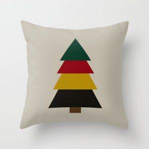 winter pine tree throw pillow