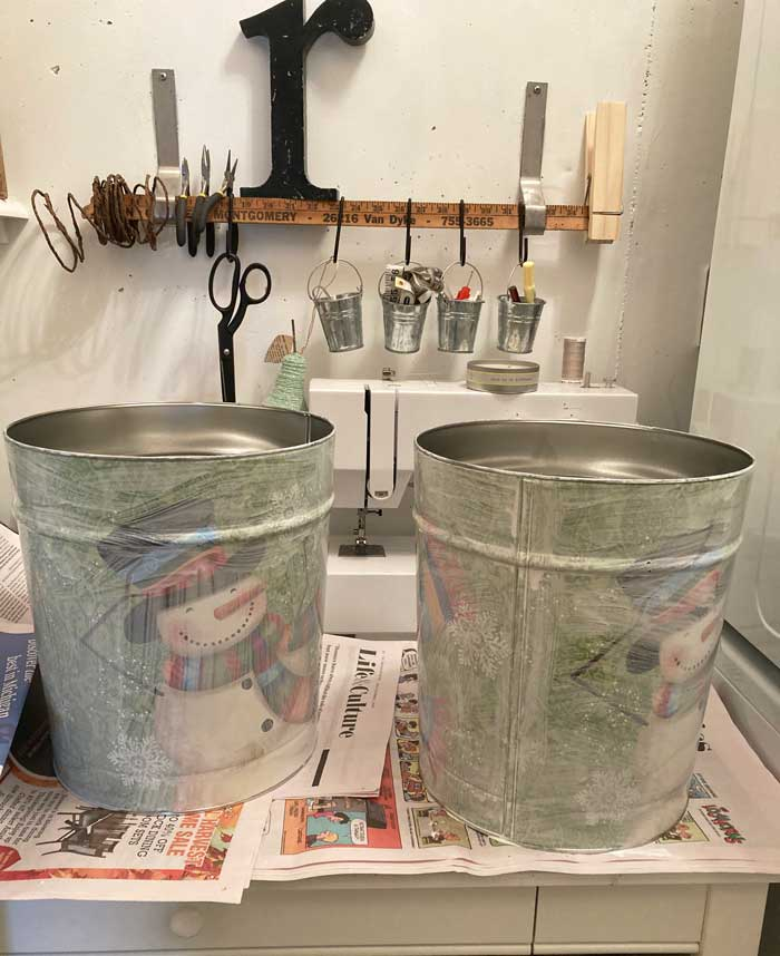 whitewash painted tins