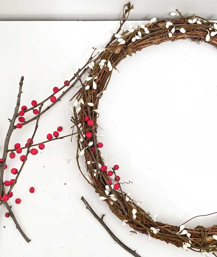 winter berries attached to wreath