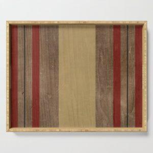 wood grain stripes serving tray