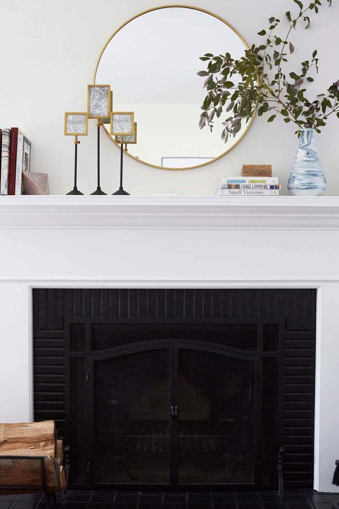 fireplace mantel book display