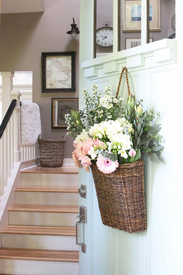 flowers in a door basket