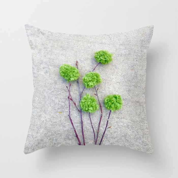 rustic floral branch pillow