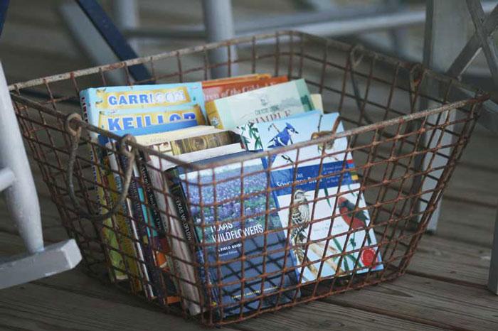 wire basket book storage