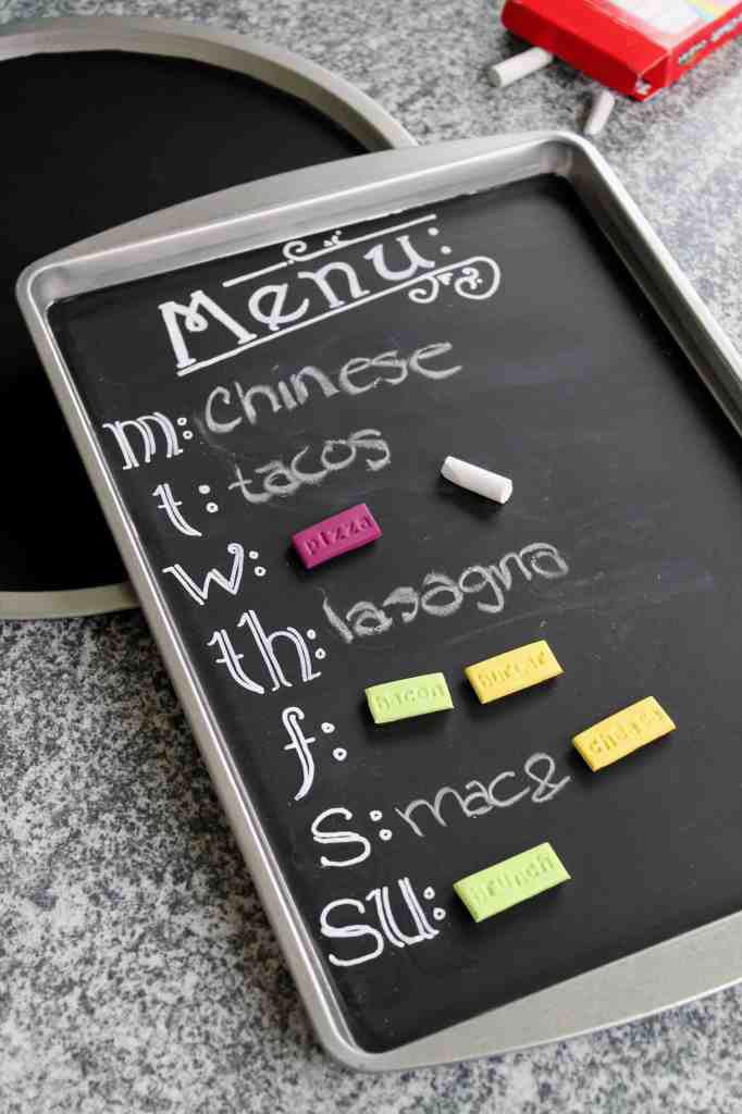 cookie sheet magnet chalkboard