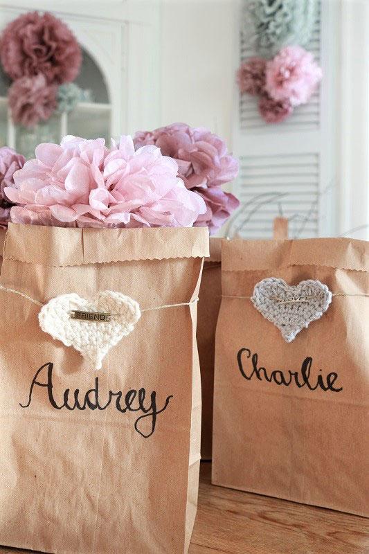 diy valentine love sacks