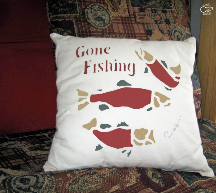 painted fish pillow