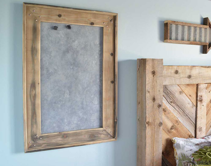 rustic magnet board with frame