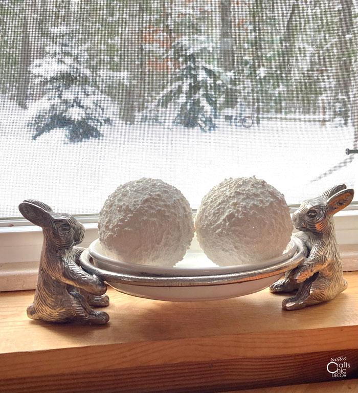 sparkly faux snowballs