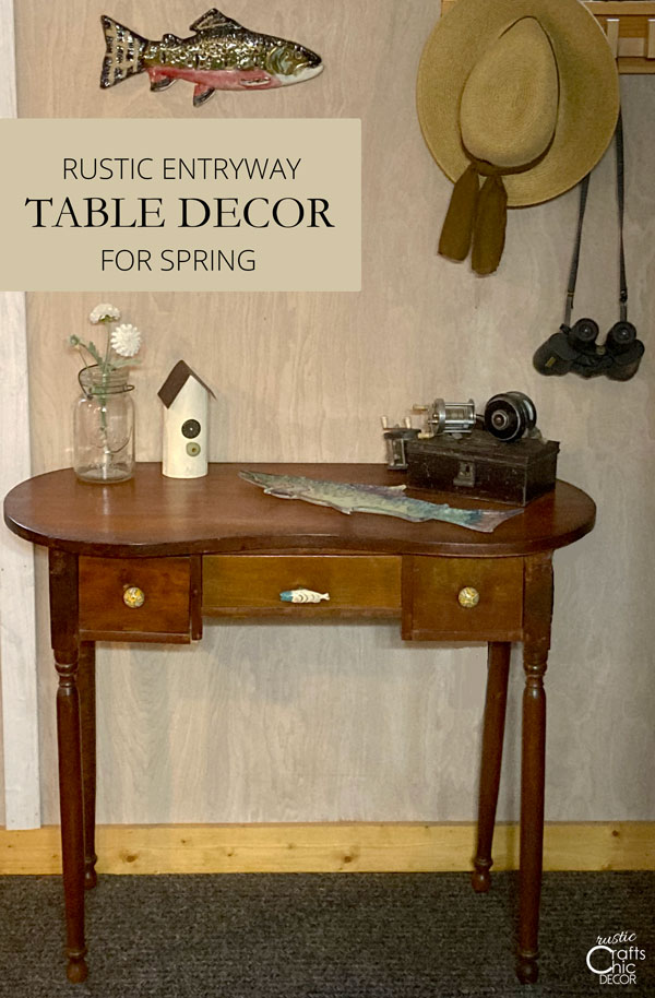 rustic entryway table decor for spring