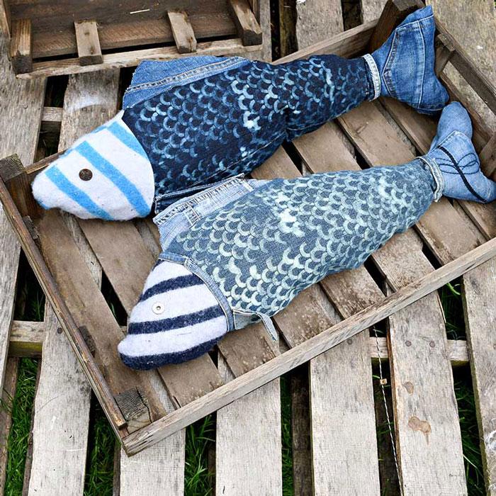 denim fish pillows