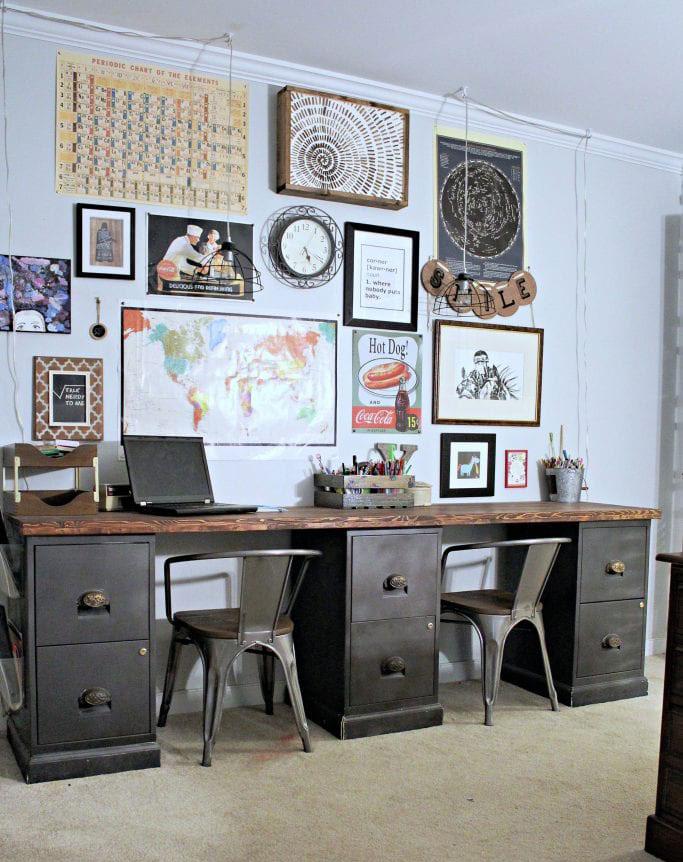 repurposed file cabinet desk
