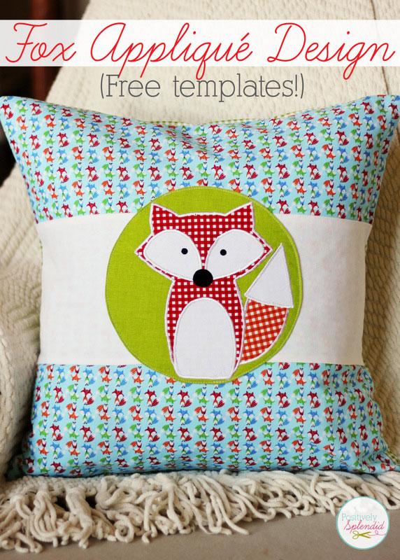 fox applique pillow