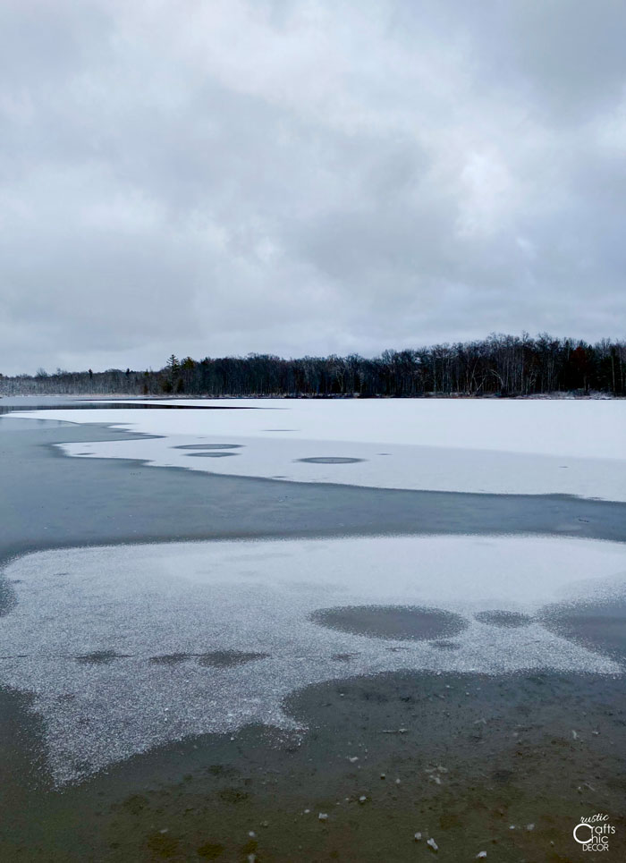 frozen lake off trail