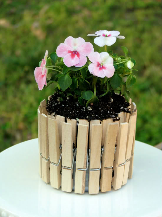 mini picket fence flower pots