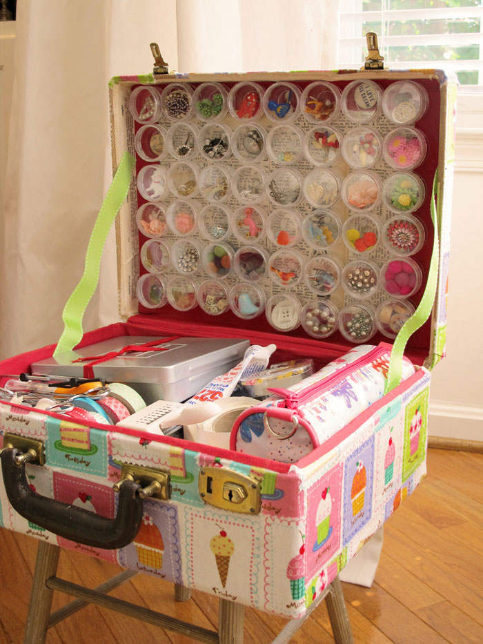 suitcase for craft supplies