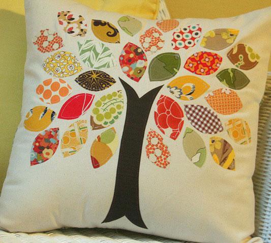 tree applique pillow