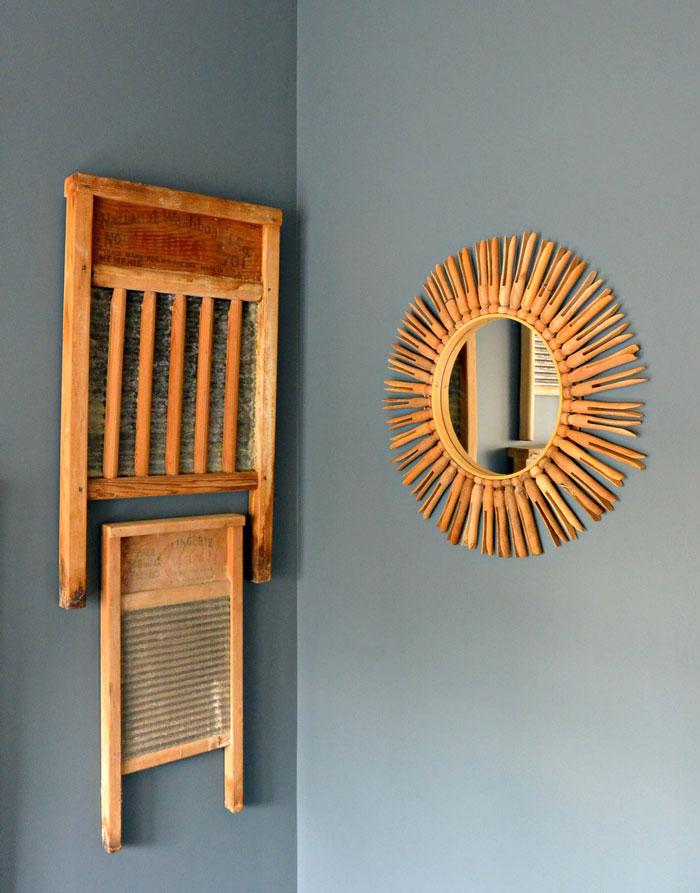 vintage clothespin sunburst mirror