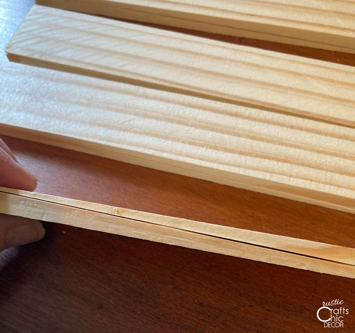 glued together wood shims