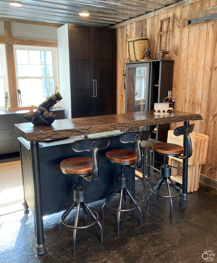 rustic bar in game room
