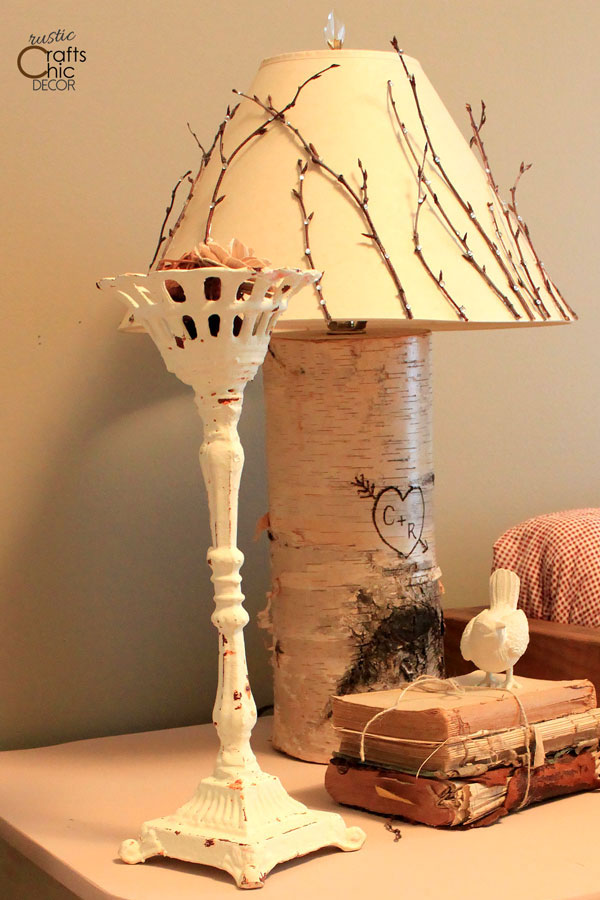 cottagecore style diy birch lamp