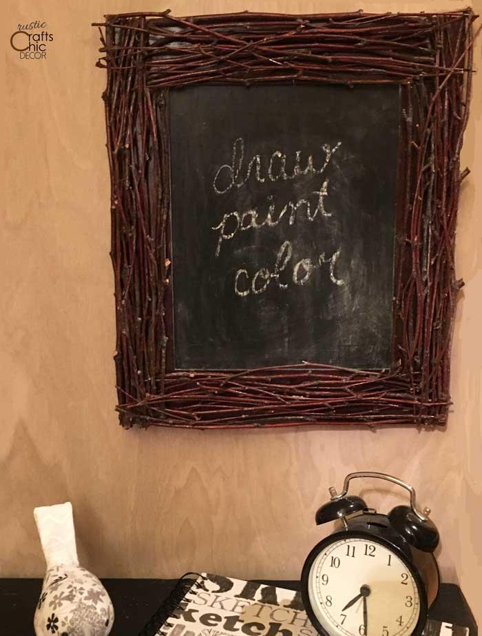 diy chalkboard with twig frame