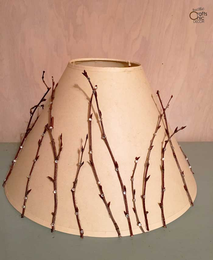 twig and sequin decorated lampshade