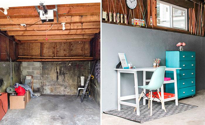 craft room in unused garage