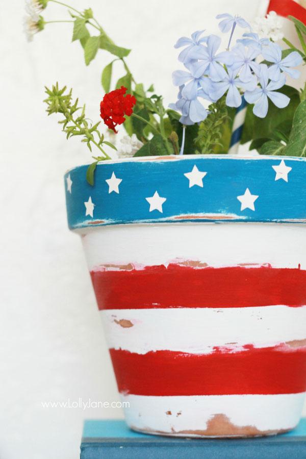 stars and stripes flower pot