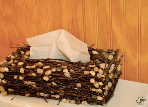 sticks and stones tissue box cover