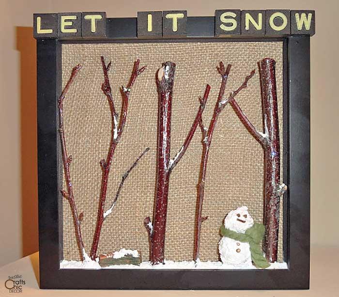 twig tree and snowman shadow box
